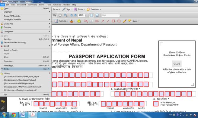 Mrp Printing Instruction Embassy Of Nepal Washington Dc Usa